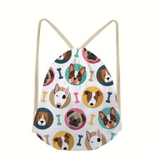 Cute Bull Terrier Printed Small Drawstring Bags Girls Casual Dog Pattern Backpack Women's Mochila Sport Cinch Fitness Bags Bolsa