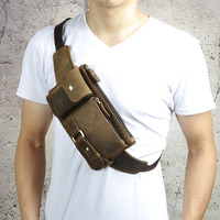 Genuine Leather Waist Packs Fanny Pack Belt Bag Phone Pouch Bags Vintage Travel Waist Pack Male Crossbody Chest Bags wallet