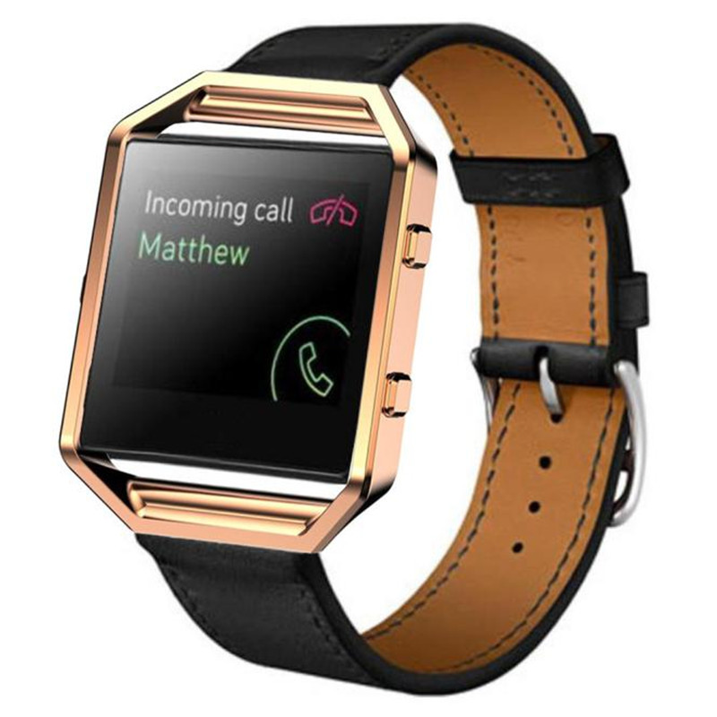 Luxury Genuine Leather Watchband Watch band Wrist strap + Metal Frame Strap Bracelet For Fitbit Blaze Smart Watch clock