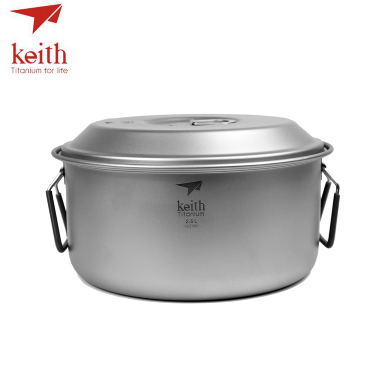 Keith 2-3 Person Camping Titanium Pot Folding Handle Portable Outdoor Ultralight Cooking Pot Picnic Cookware Cutlery 2.5L Ti6018