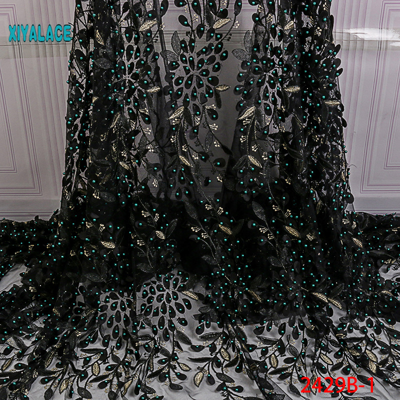 Nigerian Beaded Lace Fabric 2019 High Quality African 3D Net Lace Fabric Wedding French Tulle Lace Material For Dress YA2429B-1