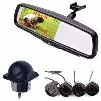 KOENBANG 3 in1 4.3 Car Rearview Mirror Monitor+Rear View Camera+Car Video Parking Sensors. Display Rearview Image and Distance
