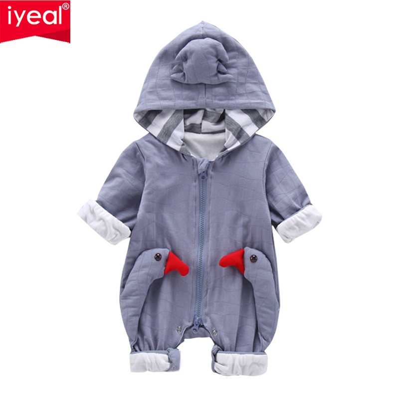 IYEAL Newborn Baby Girls Boys Clothes Hooded Romper Cotton Long Sleeve Jumpsuit 3D Swan Pattern Kids Infant Outwear 3-6-9-12-18M цена