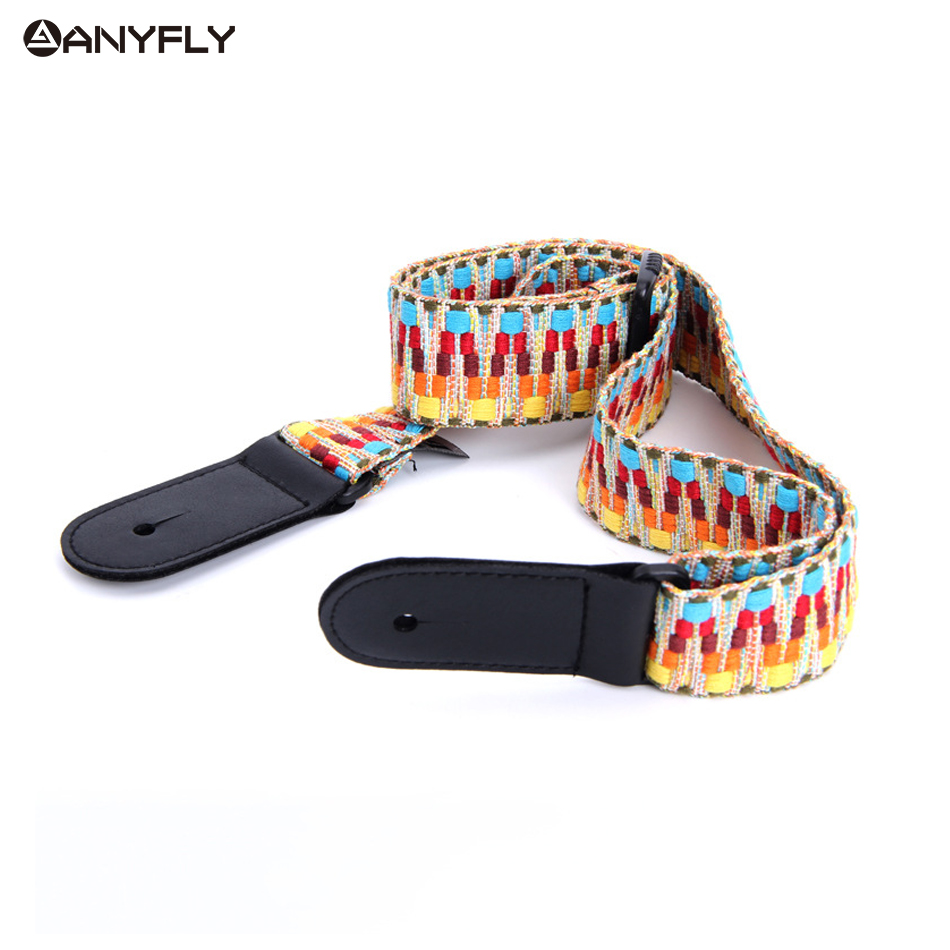 New Hawaii Guitar Ukulele Guitar Pure Cotton Woven strap Belt Adjustable Leather End Wholesale Musical Accessories