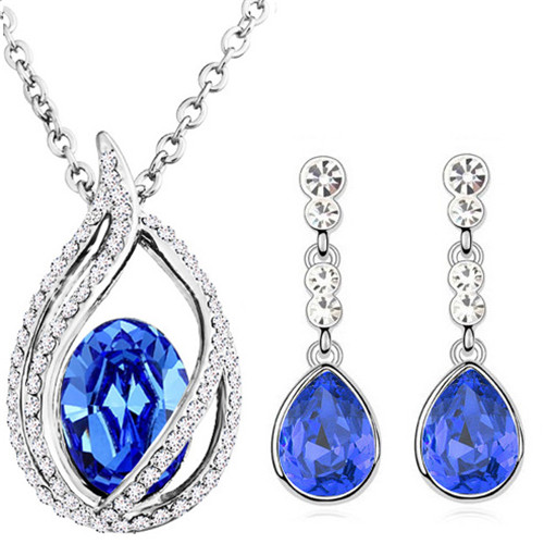 austrian Crystal tear drop flame pendant fashion jewelry sets - Fashion Jewelry - Photo 3