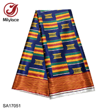 2019 New African printing satin fabric high quality digital wax pattern 5 yards for clothes SA17051-17063
