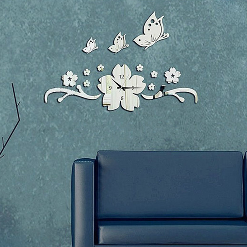 aliexpresscom buy new butterfly flower 3d diy wall clock modern design acrylic mirror wall decal art stickers for home office decoration t from reliable aliexpresscom buy office decoration diy wall