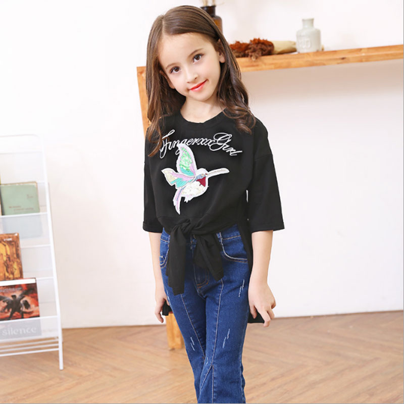 2018 Kids girls Summer Half Sleeve T-shirt Personalized Tshirts 6 8 9 10 12 14 16Y European Style Top Tees Shirts for Teen Girls