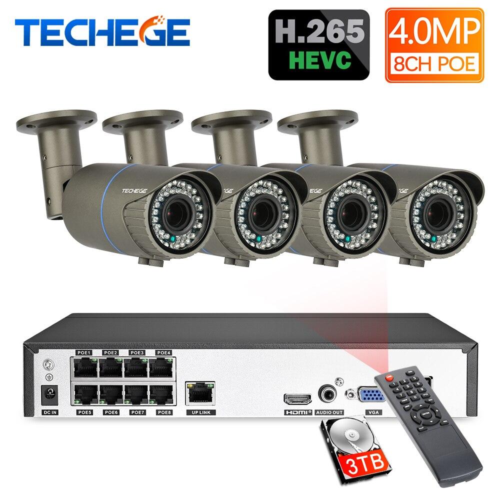 Techege H.265 8CH POE système 2.8-12mm Zoom motorisé 4.0MP caméra IP 2592*1440 étanche Onvif Kit de Surveillance vidéo