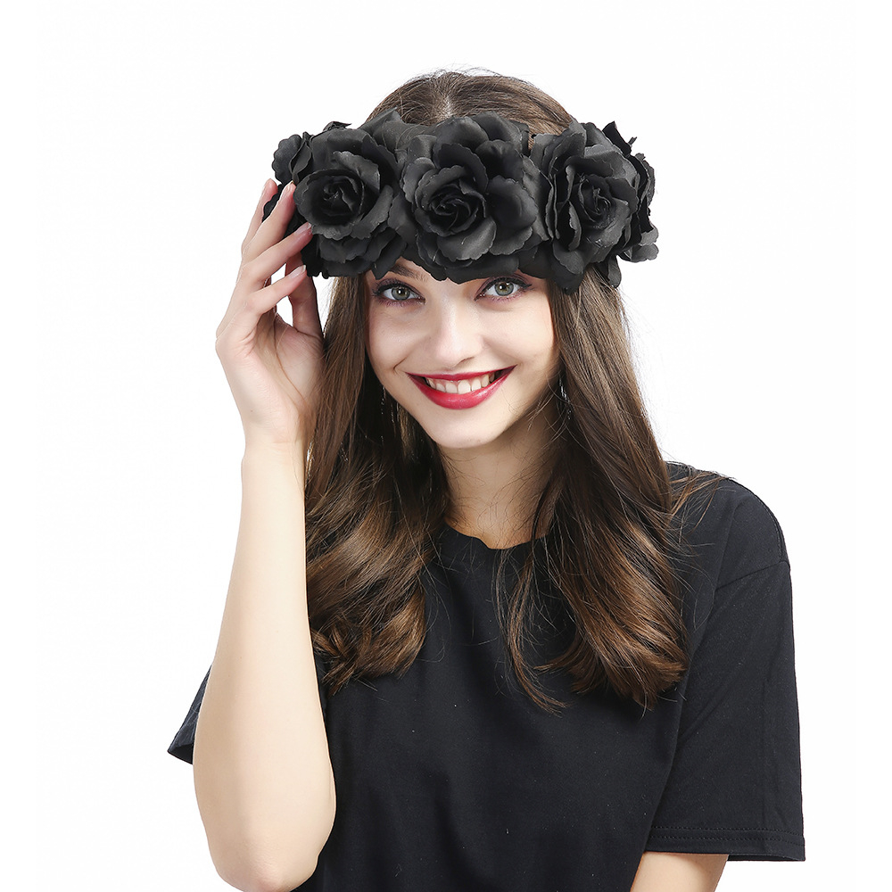 mystic black floral headbands huge rose flower crown headwear women fashion show hair ornament
