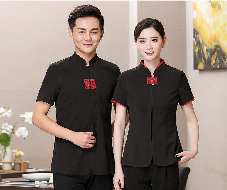 Western Restaurant Waiter Work Wear Short Sleeve Waiter Tops Hot Pot Catering Restaurant Hotel Chef Uniform Coffee Shop Clothing