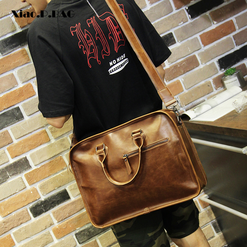 Xiao P Crazy Horse PU Leather Men Handbag Large Capacity Square Brown Handbag Messenger Bag Single