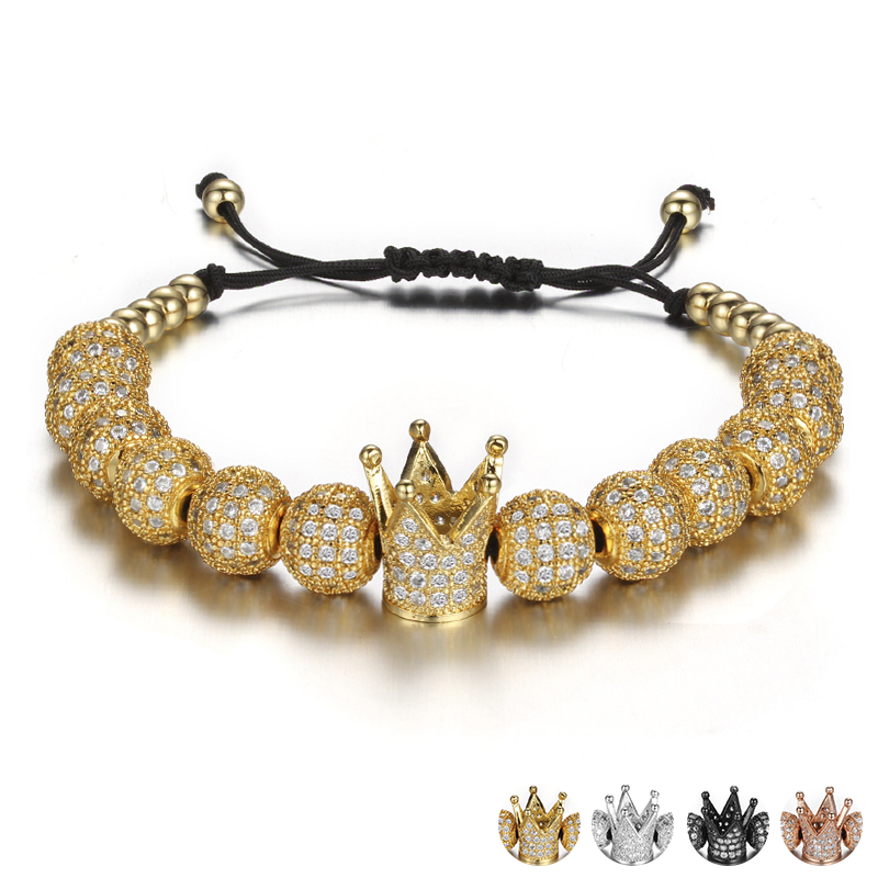 Brand 2017 Luxury Crystal Ball Crown Charm Bracelets For Women Rhinestone Adjustable Female Bracelet Accessories Pulseiras luxury brand love bracelets