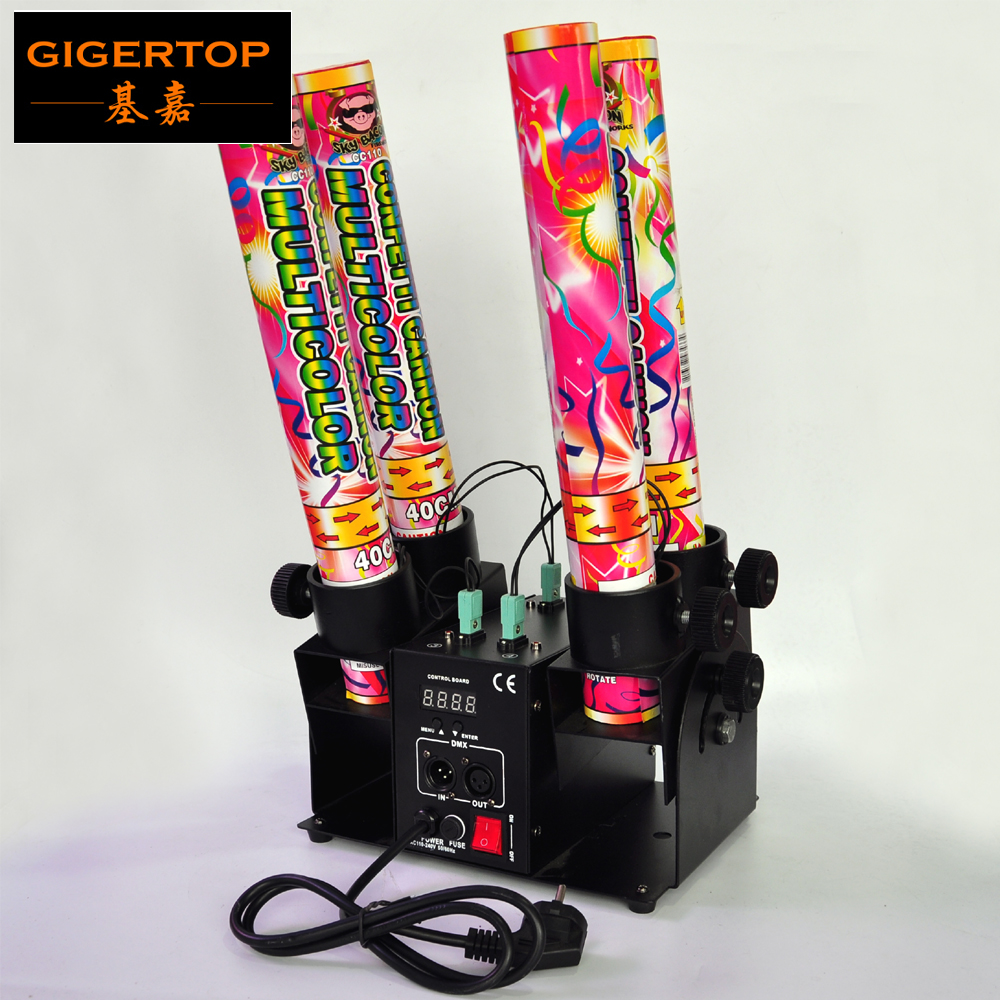 Discount Price 4 Head Confetti Cannon DMX Control High Jet Distance Spray Angle Adjustable Power Electric Connector Fuse Trigger