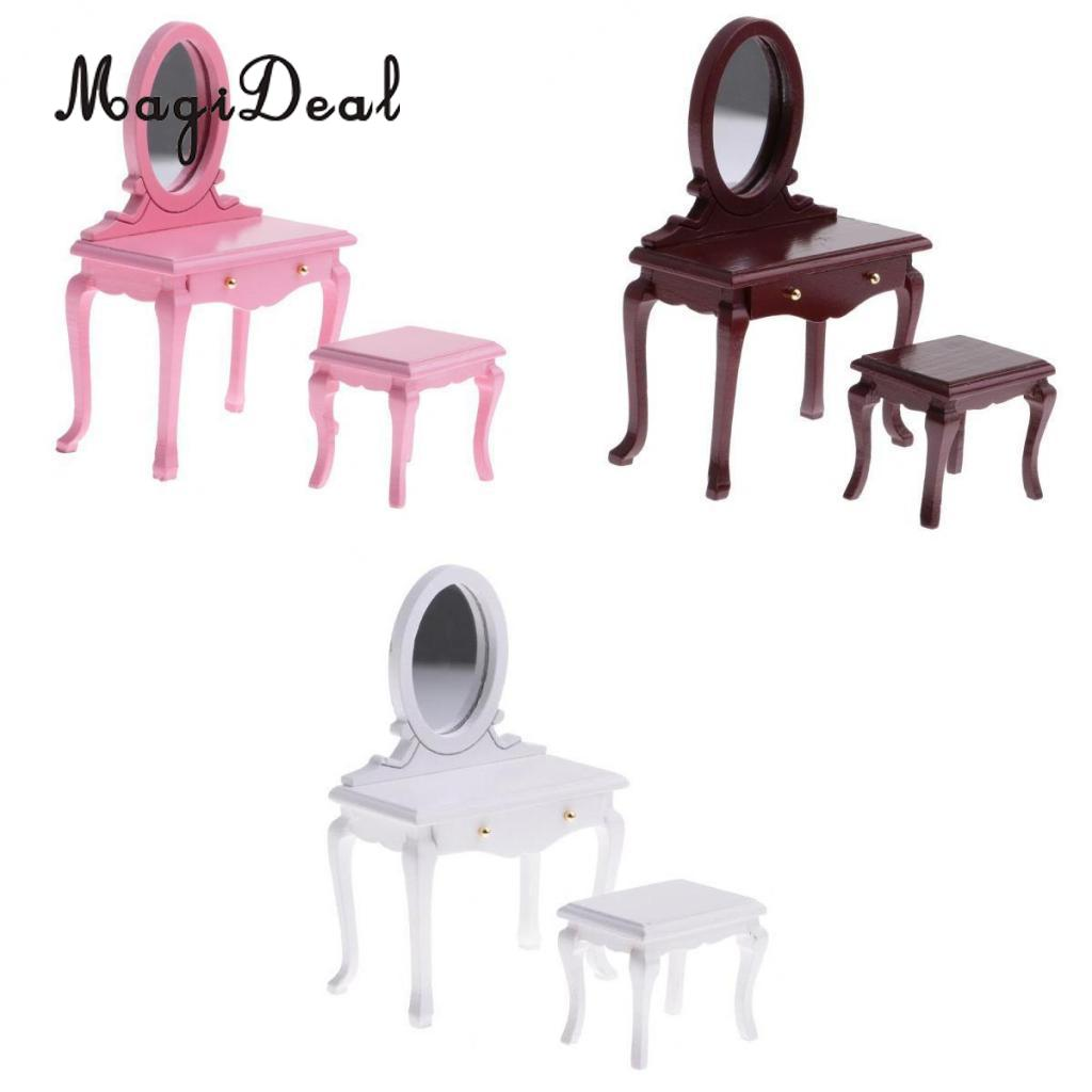 1//12 Dollhouse Bedroom Furniture Dressing Table Stool Set Decoration White