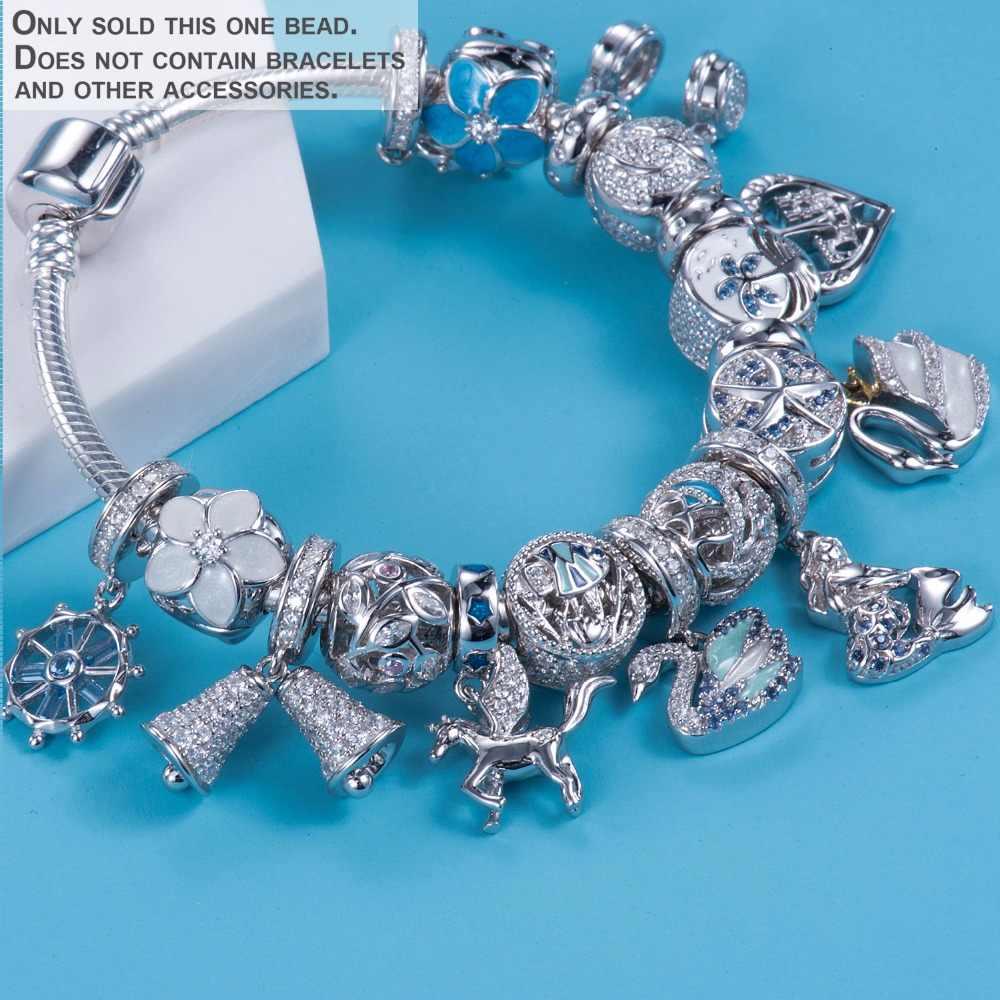 Видео! 100% стерлингового серебра 925 пробы ювелирные изделия синий Лебедь оригинальный европейский браслет или ожерелье с шармами капли Шарм подарок DDBJ172