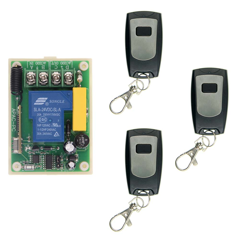 AC 220V 30A Relay 1 CH 1CH RF Wireless Remote Control Switch System,315/433.92 MHZ,3 X Waterproof Transmitters + Receiver new dc24v 4ch 10a relay rf wireless remote control switch system 4 transmitters waterproof