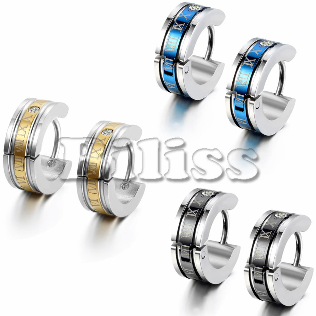 1 Pair Fashion Men's Stainless Steel Earring Roman Numeric Engrave Hoop  Earring For Boys Gold Blue