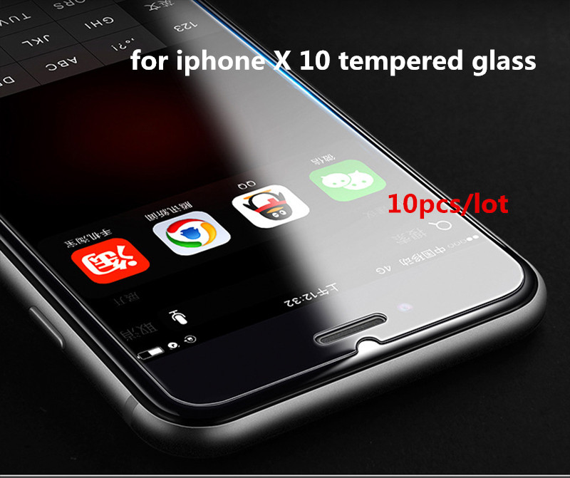 10 Pcs/Lot 2.5D 0.3mm 9H Premium Tempered Glass For Apple iPhone X Screen Protector Toug ...