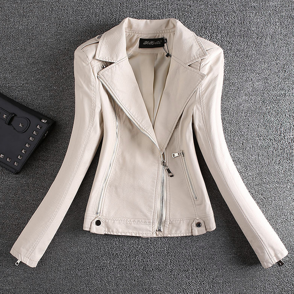 Pu   Leather   Jacket Turn Down Collar Women's Short Washed Zipper White Colors Ladies Basic Faux