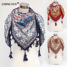 2018  New Fashion women's tassel Scarf  Square Floral Printed Brand shawls Female Winter amice women cotton scarves wraps tippet