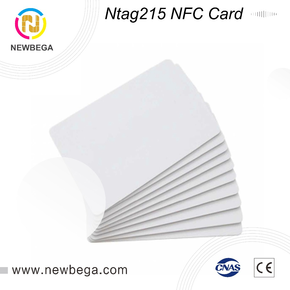 10PCS RFID Ntag215 NFC Card 13.56MHZ Plain White Card For TagMo Forum Type2 For Zebra Evoil Datacard IDP Printer Free Shipping