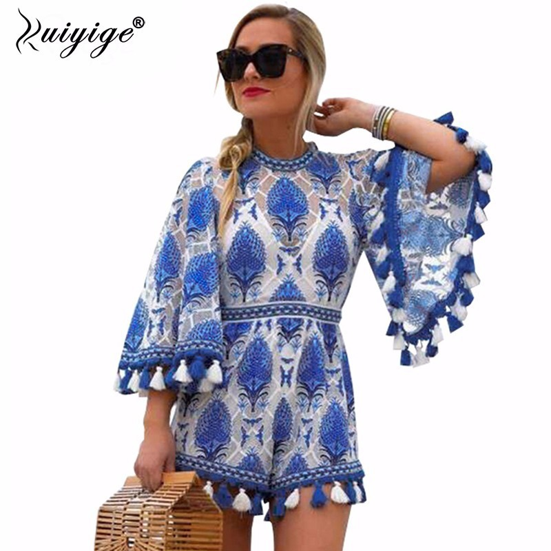 Ruiyige 2018 Summer Women Girl Sexy Embroidery Print Jumpsuit Lace See Through Tassel O Neck Tunic Beach Casual Long Sleeve