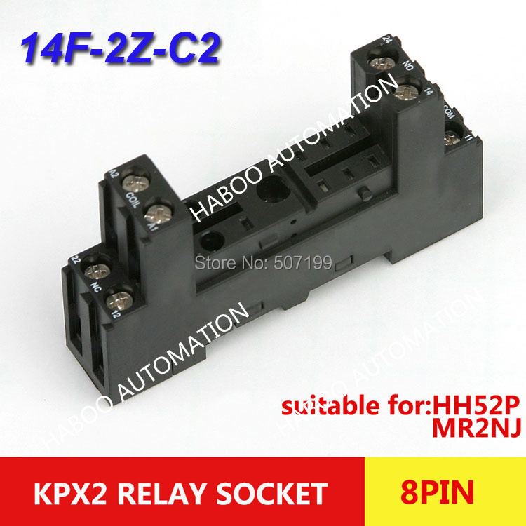 10pcs/lot HABOO general purpose relay switch socket KPX2 PI-50BE relay socket 8pin relay socket screw type