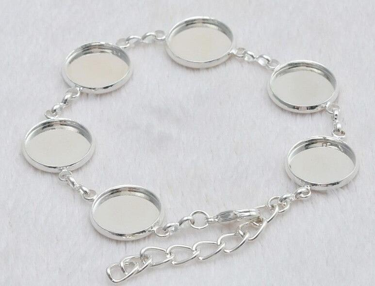 Vintage Silver Round Cabochon Bracelet Charms Blank Base Setting 16mm Cuff Bracelet For Women Jewelry Gifts Crafts Accessories