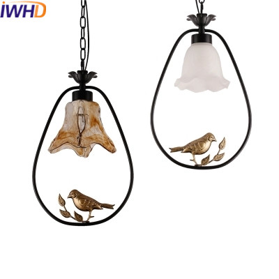 IWHD Glass Bird Hanglamp Led Pendant Lights Modern Home Lighting Fixtures Creative Iron Hanging Lamp Dining Room Luminaire iwhd led pendant light modern creative glass bedroom hanging lamp dining room suspension luminaire home lighting fixtures lustre
