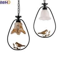 Iwhd 유리 조류 hanglamp led 펜 던 트 조명 현대 홈 조명기구 크리 에이 티브 철 교수형 램프 다이닝 룸 luminaire