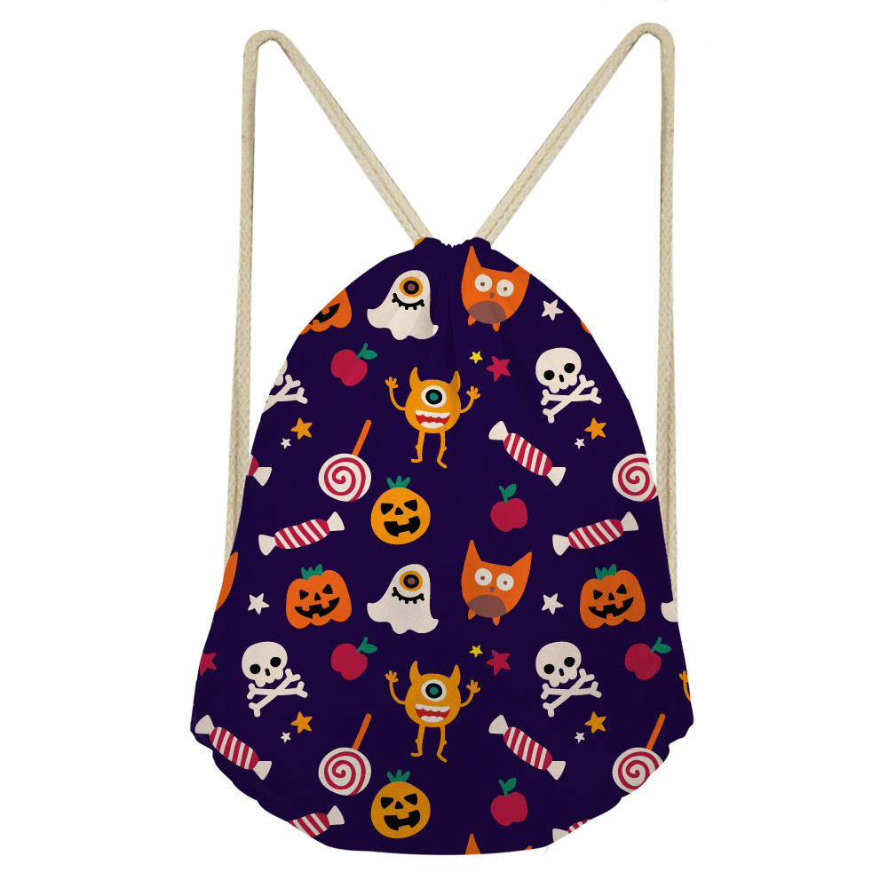 THIKIN Hallowmas Pumpkin Prints Polyester Beam Pocket Drawstring Bag Women Men Unisex Fashion School Backpack Ball Pockets