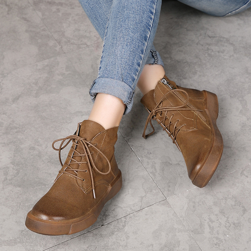 2017 Winter Women Ankle Boots Brown Genuine Leather Black Martin Boots For Women Lace Up Handmade Women Leather Shoes Low Heel z suo brand new winter women motocycle boots leather lace up ankle martin boots shoes black brown high quality