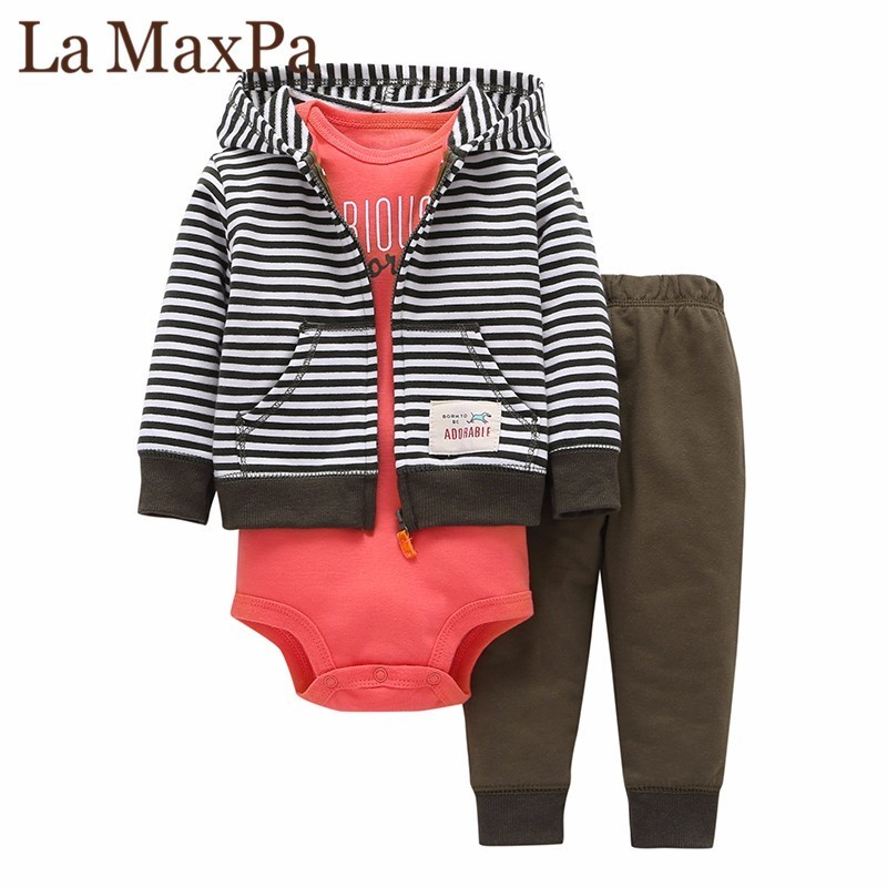 hooded zipper coat + pants + romper fashion cotton 2018 Baby Boy girl Clothes set children boys cute Clothing free shipping