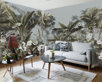 beibehang Custom 3D Photo Wallpaper European retro hand-painted rain forest mural TV background wall wall paper home decor green plant forest 3d stereo tv background wall professional production mural custom photo wall