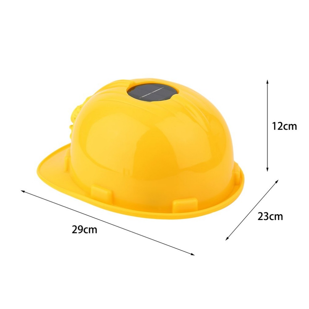 LESHP Solar Safety Helmet Outdoor Solar Energy Cooling Cool Fan Safety  Helmet Hard Ventilate Hat Cap Yellow Color Wholesale