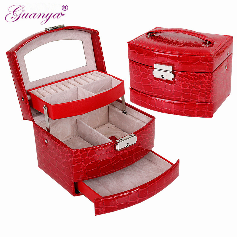 Guanya PU Leather Jewelry Display Box 3 Layers Ring Necklace Etc. Storage Packaging Carrying Case Organizer Female Lady Gift