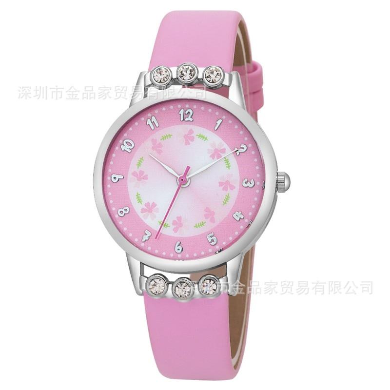 New Watch Women Kids Children Girls Ladies Quartz Diamond Wristwatch Rosette Flower Watches Montre Relogio Kol Saati Clock