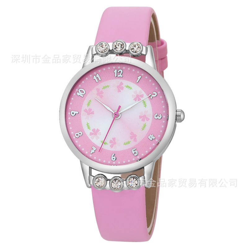 New Watch Women Kids Children Girls Ladies Quartz Diamond Wristwatches Rosette Flower Watches Montre Relogio Kol Saati Clock