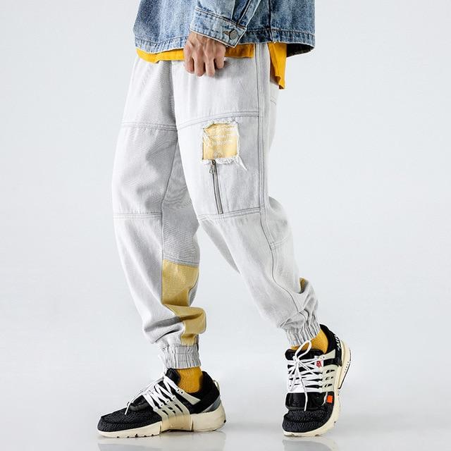 High Street Fashion Men Jeans Japanese Style Loose Fit Harem Trousers Hip Hop Jogger Pants Men Patch Design Printed Jeans homme