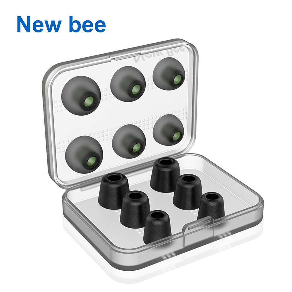 New Bee Replacement Noise Isolating 3 pairs Memory Foam tips & 3 pairs Silicone Earbuds Ear Pads for Headphone Earphone Black