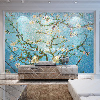 Van Gogh Apricot Tree Glass Mosaic Tiles Pattern