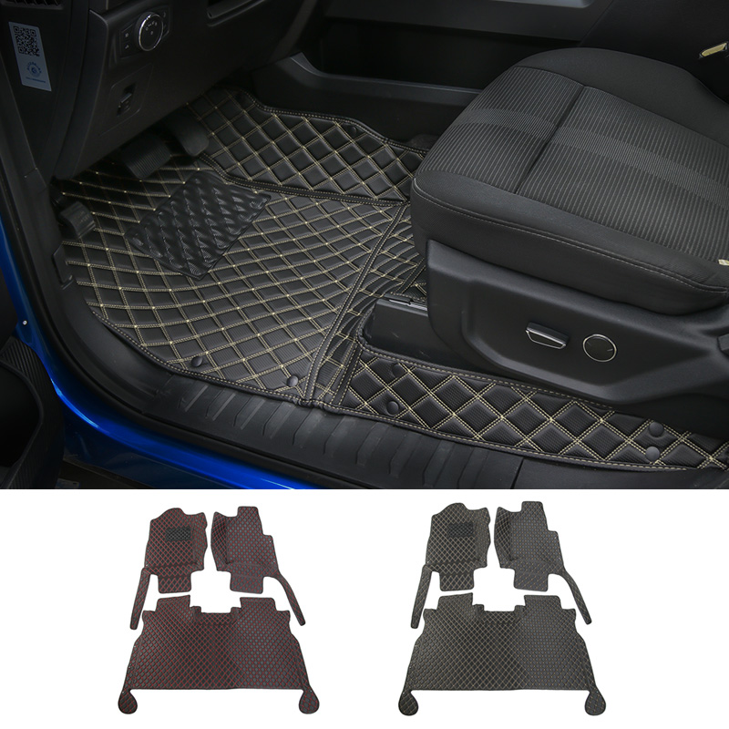 MOPAI Car Interior Decoration Accessories Leather Floor Mats Foot Pads Kit Cover Fit For Ford F150 2015 Up Car Styling 3d trunk mat for peugeot 508 waterproof car protector carpet auto floor mats keep clean interior accessories