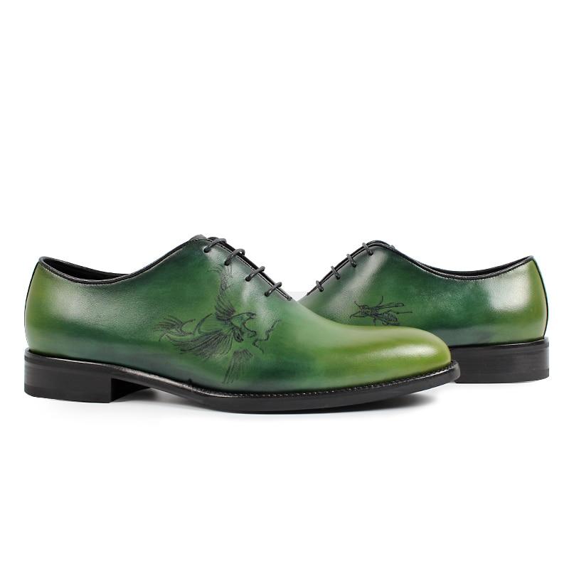 Männer Männlichen Green Mode Hochzeit Painte Echtem Hombre Für Schuh Grün Zapato Handgemachte Schuhe Vikeduo Oxford Kleid Leder Büro a8TPxAXq