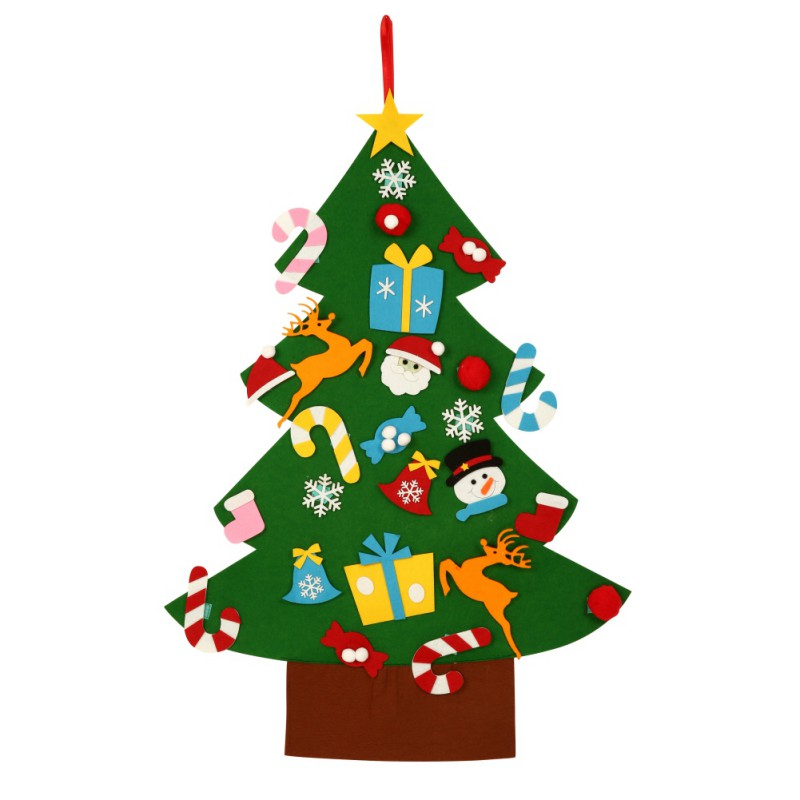 Niños DIY fieltro árbol de Navidad con adornos regalos de Navidad para niños para Año Nuevo 2018 puerta colgando de la pared decoración de Navidad