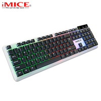 104Keys USB Wired Pro Gaming Keyboard Waterproof Multimedia Ergonomic Gaming Keyboard With Russian Sticker for Large Scale Game