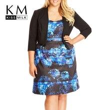 Kissmilk 2018 плюс Размеры Для женщин Мода Костюмы Повседневное тонкий сплошной Цвет пальто три четверти рукавами куртка большой Размеры 3XL-6XL