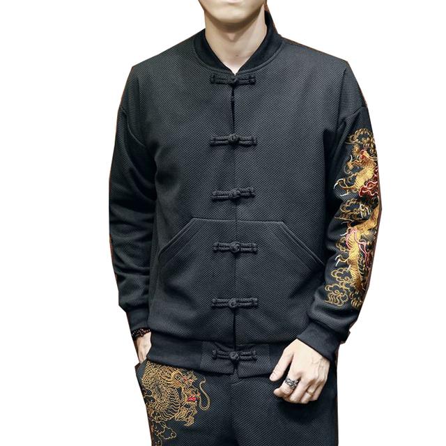 2018 New Dragon Embroidery Bomber Jacket Coat Men Jaqueta Masculina Male Jackets Casaco Masculino Chaquetas Hombre Veste Homme