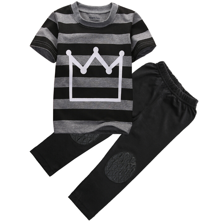 Baby Boys Cotton Clothes Set 2pcs Children Cool Newborn Crown Striped Short sleeve T-shirt Tops Pants Black Fashion Boys family fashion summer tops 2015 clothers short sleeve t shirt stripe navy style shirt clothes for mother dad and children