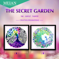 2016 New 5D Diamond Embroidery Secret Garden Peacock Diamond Painting Mosaic 3D Pictures Crystal Needlework Decoration